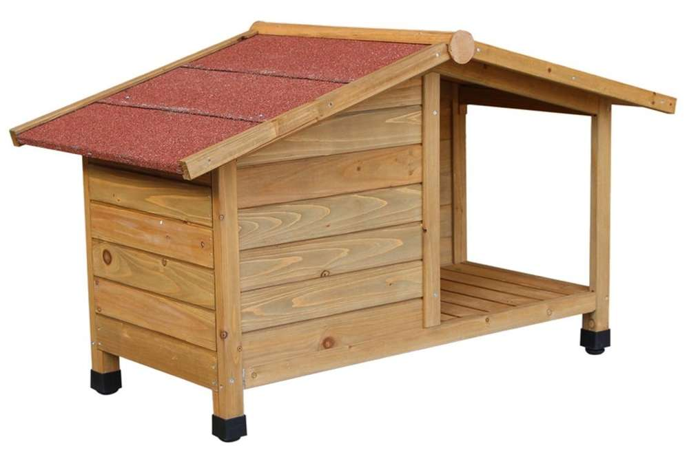 Hundehütte mit Veranda, aus Fichtenholz